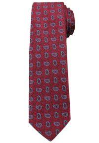 Bordowy Elegancki Krawat w Łezki -Angelo di Monti- 6 cm, Męski, Niebieski Wzór Paisley. Kolor: niebieski, czerwony, wielokolorowy. Wzór: paisley. Styl: elegancki