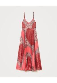 Czerwona sukienka TwinSet na ramiączkach, boho, z aplikacjami, maxi