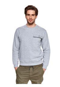 TOP SECRET - Bluza strukturalna z kieszenią. Okazja: na co dzień. Kolor: szary. Materiał: tkanina. Długość: długie. Sezon: wiosna. Styl: casual #5