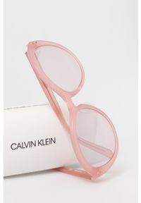 Różowe okulary przeciwsłoneczne Calvin Klein okrągłe