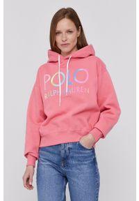 Polo Ralph Lauren - Bluza. Typ kołnierza: polo. Kolor: różowy. Długość rękawa: długi rękaw. Długość: długie. Wzór: nadruk