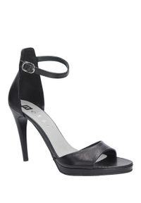 Nessi - Czarne sandały szpilki skórzane z paskiem wokół kostki nessi 18385. Zapięcie: pasek. Kolor: czarny. Materiał: skóra. Obcas: na szpilce