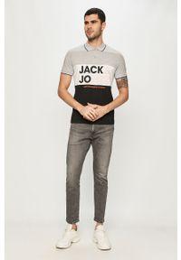 Szara koszulka polo Jack & Jones polo, raglanowy rękaw, krótka