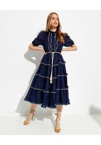 ZIMMERMANN - Granatowa sukienka Aliane. Typ kołnierza: kołnierz z falbankami. Kolor: niebieski. Wzór: haft, aplikacja. Długość: maxi