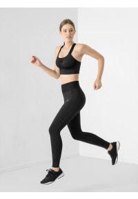 4f - Legginsy do biegania szybkoschnące damskie. Stan: podwyższony. Kolor: czarny. Materiał: włókno, dzianina, skóra, materiał. Długość: do kostek. Sport: fitness