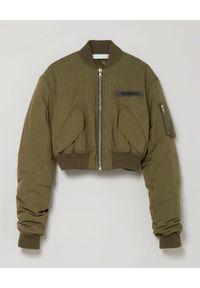 PALM ANGELS - Zielona kurtka typu bomber. Kolor: zielony. Materiał: materiał. Długość rękawa: długi rękaw. Długość: długie. Wzór: aplikacja