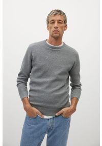 Szary sweter Mango Man na co dzień, z długim rękawem, casualowy, długi