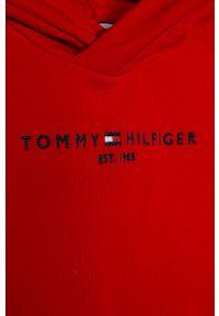 Czerwona sukienka TOMMY HILFIGER na co dzień, prosta, z kapturem, z aplikacjami