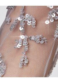 NEEDLE & THREAD - Sukienka midi z cekinami. Okazja: na imprezę. Kolor: szary. Materiał: tiul, koronka. Wzór: aplikacja, koronka. Typ sukienki: w kształcie A. Styl: vintage. Długość: midi