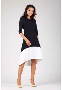 Nommo - Czarna Wyjściowa Asymetryczna Sukienka z Kontrastowym Dołem. Kolor: czarny. Materiał: wiskoza, poliester. Typ sukienki: asymetryczne. Styl: wizytowy