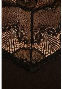 Pieces - Bluzka. Kolor: czarny. Materiał: koronka, materiał. Wzór: gładki