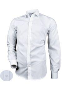 Biała elegancka koszula Desire z klasycznym kołnierzykiem, na co dzień, z długim rękawem, długa