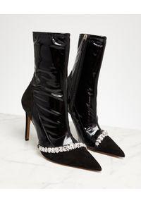 ALEXANDRE VAUTHIER - Czarne botki Ane. Kolor: czarny. Materiał: lakier. Wzór: aplikacja