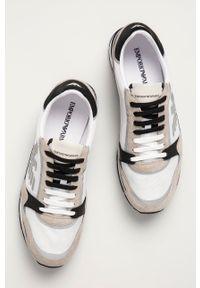 Emporio Armani - Buty. Nosek buta: okrągły. Zapięcie: sznurówki. Kolor: beżowy. Materiał: guma. Obcas: na obcasie. Wysokość obcasa: niski
