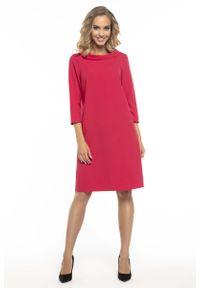 Tessita - Trapezowa Czerwona Sukienka z Kołnierzykiem JACKIE KENNEDY. Kolor: czerwony. Materiał: poliester, elastan. Typ sukienki: trapezowe