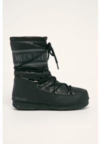 Czarne śniegowce Moon Boot z cholewką, na średnim obcasie, na sznurówki, na obcasie