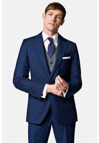 Lancerto - Garnitur Business Mix Navy. Kolor: niebieski. Materiał: poliester, wiskoza, tkanina, wełna. Wzór: gładki