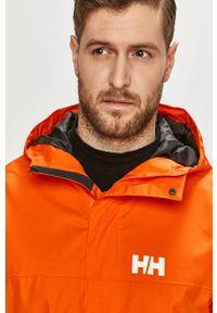Pomarańczowa kurtka Helly Hansen z kapturem, na co dzień, casualowa, z nadrukiem