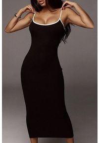 Czarna długa sukienka IVET na co dzień, casualowa