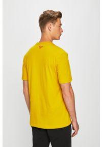 Żółty t-shirt Reebok Classic na co dzień, z nadrukiem, casualowy