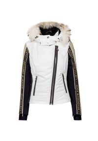 Biała kurtka narciarska High Society w kolorowe wzory, z asymetrycznym kołnierzem, krótka, plus size