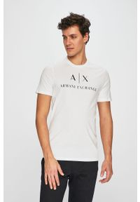 Biały t-shirt Armani Exchange na co dzień, polo