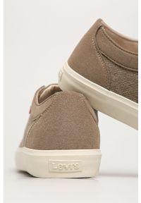 Beżowe sneakersy Levi's® z okrągłym noskiem, na spotkanie biznesowe