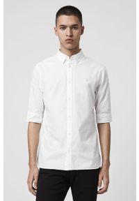 Biała koszula AllSaints z klasycznym kołnierzykiem, klasyczna, na co dzień