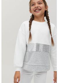 Biała bluza Mango Kids bez kaptura, casualowa, na co dzień