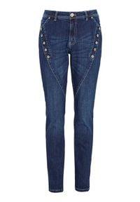 Cellbes Spodnie typu boyfriend z ozdobnymi guzikami ciemnoniebieski denim female niebieski 34. Kolor: niebieski