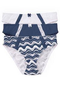Figi (3 pary), bawełna organiczna bonprix indygo + biały w graficzny wzór. Kolor: niebieski. Materiał: bawełna