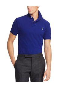 Ralph Lauren - RALPH LAUREN - Koszulka Polo Slim Fit. Typ kołnierza: polo. Kolor: niebieski. Materiał: bawełna. Wzór: haft, aplikacja. Styl: klasyczny