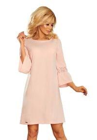Numoco - Różowa Sukienka Wizytowa z Koronką na Rękawie. Kolor: różowy. Materiał: koronka. Wzór: koronka. Styl: wizytowy