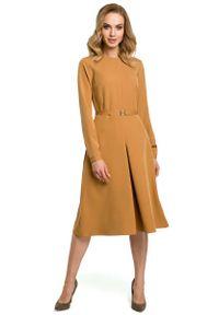 Brązowa sukienka MOE elegancka, do pracy