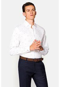 Lancerto - Koszula Biała z Nadrukiem Regina. Kolor: biały. Materiał: bawełna, tkanina, jeans. Wzór: nadruk