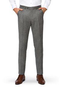 Lancerto - Spodnie Szare w Pepitkę Bolzano. Stan: podwyższony. Kolor: szary. Materiał: wełna, tkanina, elastan. Długość: długie. Styl: klasyczny, vintage, sportowy