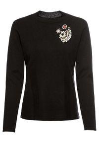 Czarny sweter bonprix z aplikacjami, z golfem, elegancki
