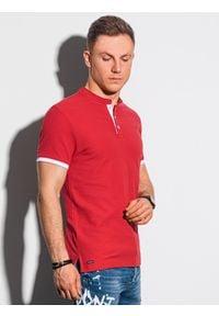 Ombre Clothing - Koszulka męska polo bawełniana S1381 - czerwona - XXL. Typ kołnierza: polo. Kolor: czerwony. Materiał: bawełna