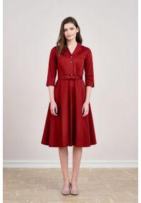 Marie Zélie - Sukienka Indis bawełna z elastanem bordo. Materiał: bawełna, elastan. Typ sukienki: trapezowe. Styl: vintage