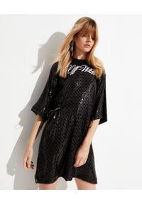 OFF-WHITE - Czarna sukienka w cekiny. Okazja: na imprezę. Kolor: czarny. Wzór: aplikacja. Typ sukienki: sportowe. Styl: sportowy