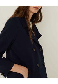 Marella - MARELLA - Granatowa kurtka z dwurzędowym zapięciem Oro. Okazja: do pracy, na spotkanie biznesowe. Kolor: niebieski. Materiał: jersey. Długość rękawa: długi rękaw. Długość: długie. Wzór: gładki. Styl: biznesowy, klasyczny