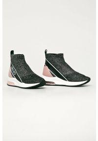 Czarne buty sportowe Liu Jo na koturnie, na średnim obcasie