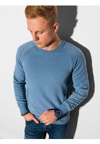 Ombre Clothing - Bluza męska bez kaptura B1156 - niebieska - XXL. Typ kołnierza: bez kaptura. Kolor: niebieski. Materiał: dresówka, bawełna, jeans, dzianina, poliester
