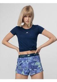 4f - Koszulka treningowa damska. Kolor: niebieski. Materiał: włókno, dzianina. Sport: fitness