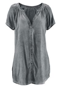 """Bluzka bawełniana """"cold-dyed"""", krótki rękaw bonprix dymny szary. Kolor: szary. Materiał: bawełna. Długość rękawa: krótki rękaw. Długość: krótkie"""