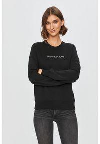 Czarna bluza Calvin Klein Jeans bez kaptura, z nadrukiem