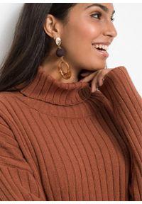 Brązowy sweter bonprix w prążki