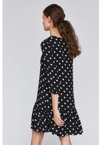 Czarna sukienka medicine w grochy, mini, casualowa