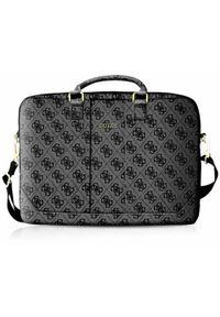 Szara torba na laptopa Guess z aplikacjami, elegancka
