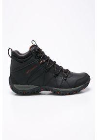 Czarne buty trekkingowe columbia z cholewką, na sznurówki